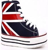Just $12.99 for United Kingdom Flag Print Flatform Zipper Sneakers