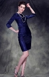 53% OFF: Sheath Sleeves Knee-length Taffeta Mother of the Brides Dress!