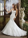 75% OFF on Beaded and Diamonds Lace-up Organza Chapel Train Wedding Dress!!