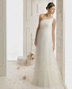46% OFF For Column One-shoulder Floor-length Tulle Lace Appliqued Wedding Dress